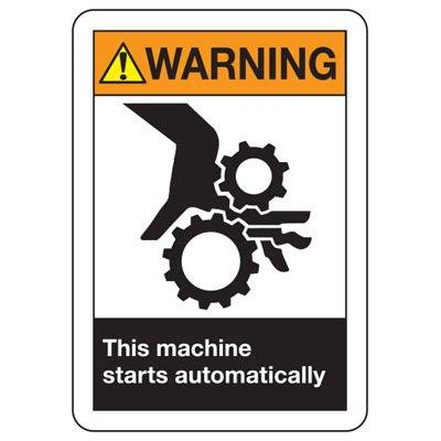 ANSI Warning Machine Starts Signs