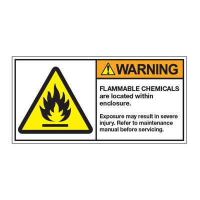 ANSI Warning Labels - Warning Flammable Chemicals