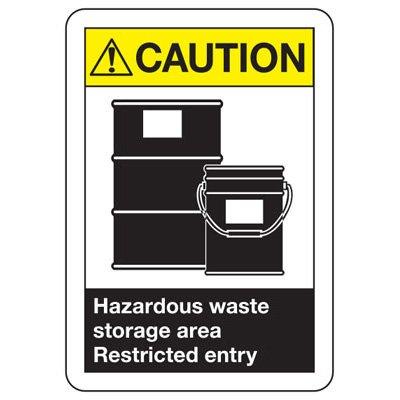 ANSI Signs - Caution Hazardous Waste Storage Area Restricted Entry