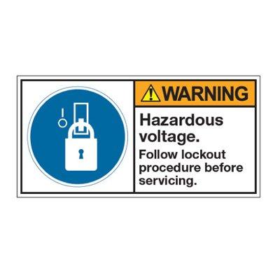 ANSI Warning Labels - Warning Hazardous Voltage Follow