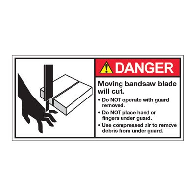 ANSI Warning Labels - Danger Moving Bandsaw Blade