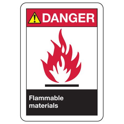 ANSI Danger Flammable Materials Signs