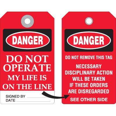 Danger Do Not Operate Accident Prevention Tag