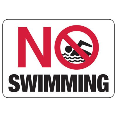 No Swimming Restriction Sign