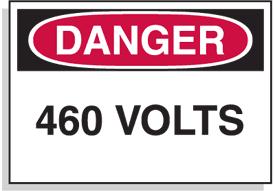 Baler Safety Labels - Danger 460 Volts