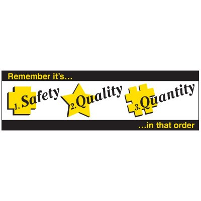 Safety, Quality, Quantity Banner