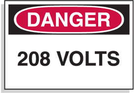 Baler Safety Labels - Danger 208 Volts