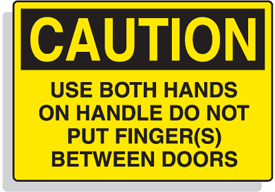 Baler Safety Labels - Caution Use Both Hands on Handle