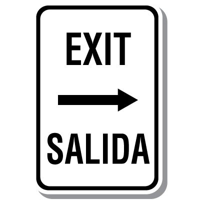 Bilingual Exit - Salida Sign with Right Arrow