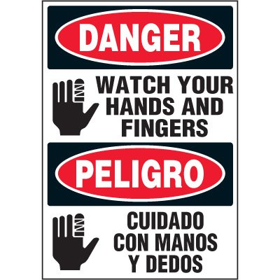 Bilingual Hazard Labels - Danger Peligro Watch Your Hands And Fingers