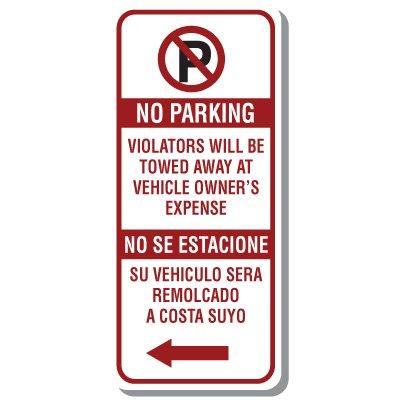 Bilingual No Parking Sign with Symbol & Left Arrow