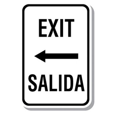 Bilingual Parking Sign - Exit with Arrow Left