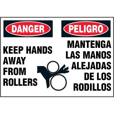 Bilingual Hazard Labels - Danger Keep Hands Away From Rollers