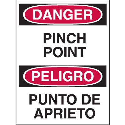Bilingual Hazard Warning Labels - Danger Pinch Point