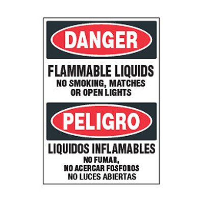Bilingual Chemical Safety Labels - Danger Flammable Liquids
