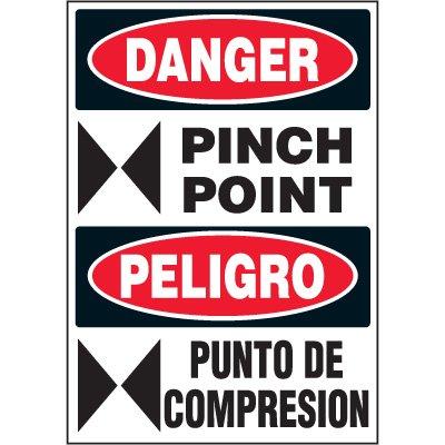 Bilingual Hazard Labels - Danger Pinch Point