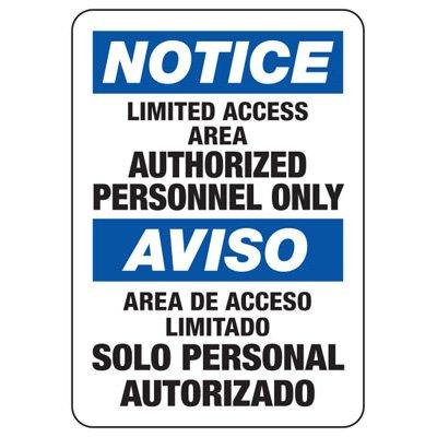 Bilingual Notice Limited Access Area Sign