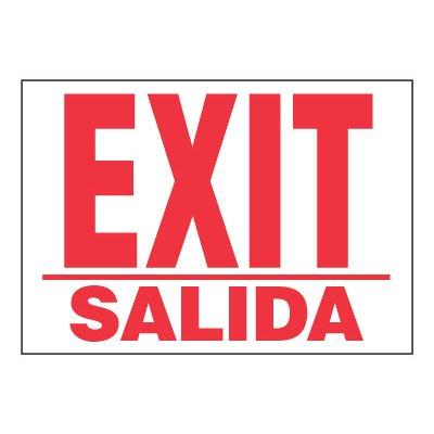 ToughWash® Adhesive Signs - Exit (Bilingual)