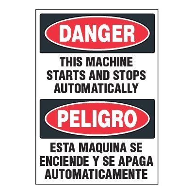 Adhesive Signs - Danger Machine Starts (Bilingual)
