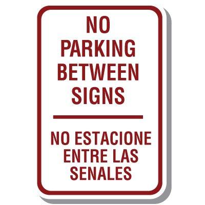 Bilingual No Parking Sign - No Parking Between Signs