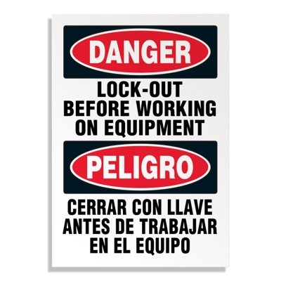Bilingual Hazard Labels - Danger Lock-Out Before Working On Equipment