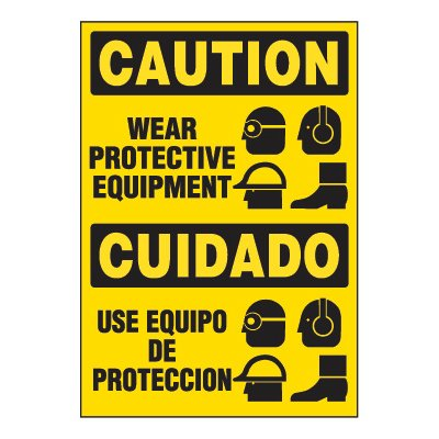 Adhesive Signs - Wear Protective Equipment (Bilingual)