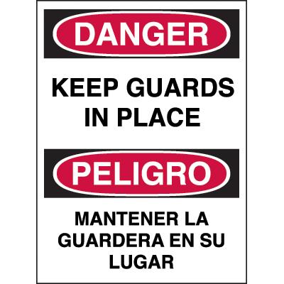 Bilingual Hazard Warning Labels - Danger Keep Guards In Place