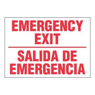 ToughWash® Adhesive Signs - Emergency Exit (Bilingual)