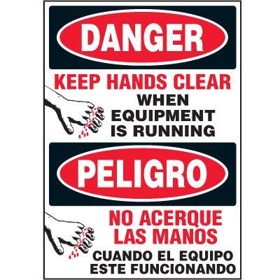 Bilingual Hazard Labels - Danger Keep Hands Clear When Equipment Is Running
