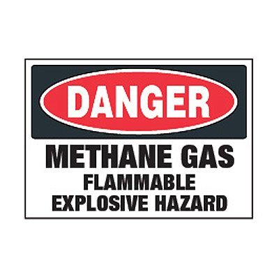 Chemical Safety Labels - Danger Methane Gas Flammable
