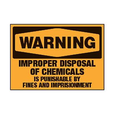 Chemical Labels - Warning Improper Disposal Of Chemicals