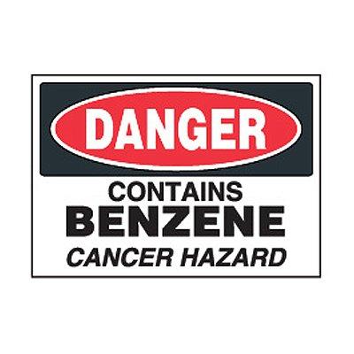 Chemical Safety Labels - Danger Benzene Cancer Hazard