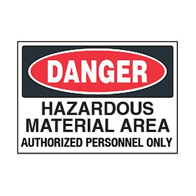 Chemical Safety Labels - Danger Hazardous Material Area