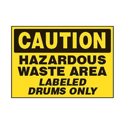 Chemical Safety Labels - Caution Hazardous Waste Drums Only