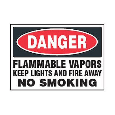 Chemical Safety Labels - Danger Flammable Vapors No Smoking