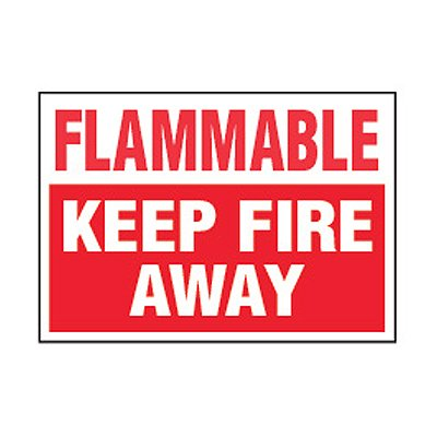Chemical Safety Labels - Flammable Keep Fire Away