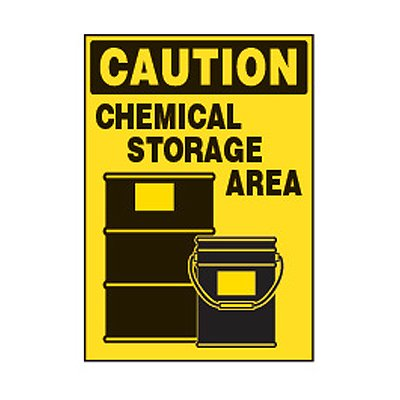 Chemical Safety Labels - Caution Chemical Storage Area