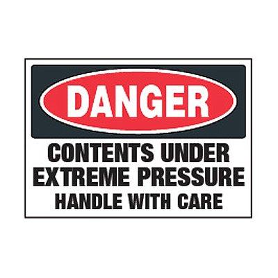 Chemical Labels - Danger Contents Under Extreme Pressure