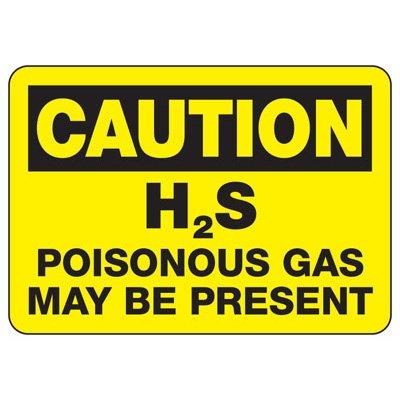 Caution H2S Poisonous Gas Present Sign