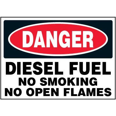 Chemical Labels - Danger Diesel Fuel No Smoking No Open Flames