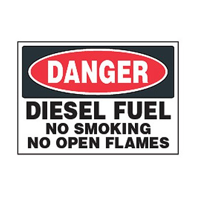 Chemical Safety Labels - Danger Diesel Fuel No Smoking