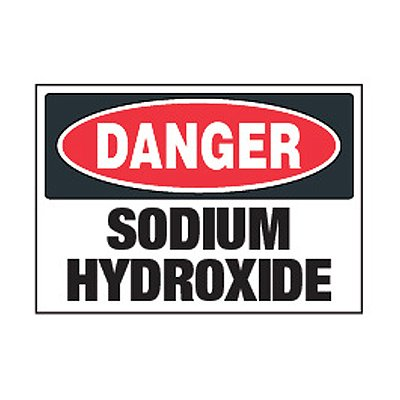 Chemical Safety Labels - Danger Sodium Hydroxide