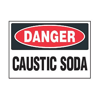 Chemical Safety Labels - Danger Caustic Soda