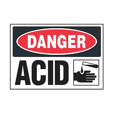 Chemical Safety Labels - Danger Acid (With Graphic)