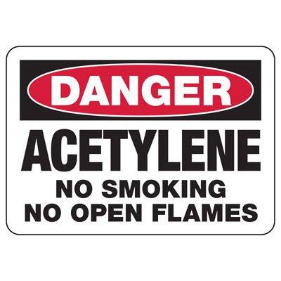 Acetylene No Smoking No Flames Sign