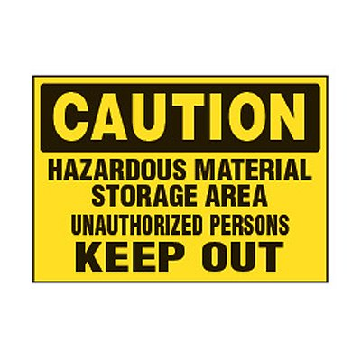 Chemical Safety Labels - Caution Hazardous Material Storage