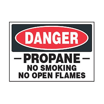 Chemical Safety Labels - Danger Propane No Smoking