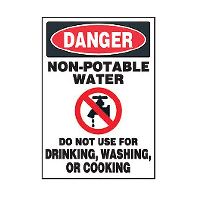 Chemical Safety Labels - Danger Non-Potable Water