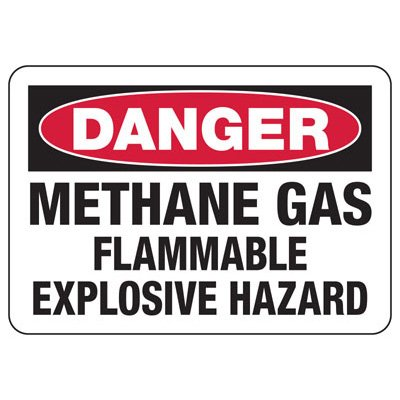 Chemical Warning Signs - Danger Methane Gas Flammable