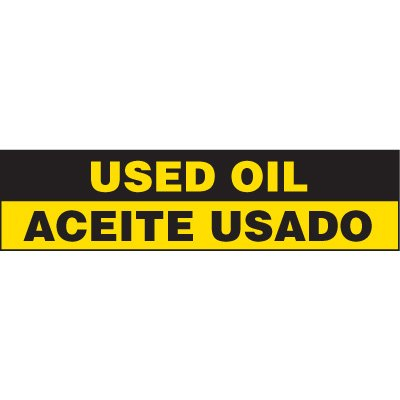Bilingual Chemical Labels - Used Oil Aceite Usado